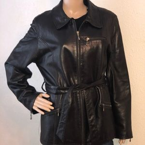 Valerie Stevens Lambskin Black Leather Jacket